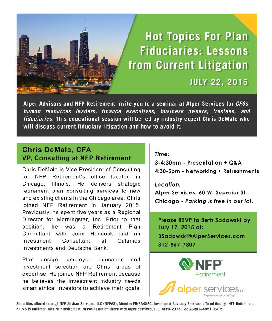 Alper Advisors Fiduciary Plan Seminar Invite